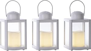Sterno Home GL43832 Square Resin Mini Integrated Flameless LED Candle, White, 3-Pack Lantern