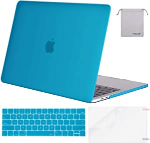 MOSISO MacBook Pro 13 inch Case 2019 2018 2017 2016 Release A2159 A1989 A1706 A1708, Plastic Hard Shell Case&Keyboard Cover&Screen Protector&Storage Bag Compatible with MacBook Pro 13, Aqua Blue