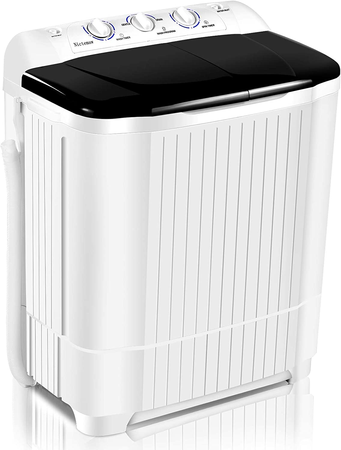 Nictemaw Compact Twin Tub Portable Mini Washing Machine, Washer(13.2lbs)&Spiner(8lbs) Semi-Automatic with Time Control Function for Bathroom,Apartments, Dorms, RV Camping (Black)