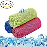 Cooling Towel Pack of 3 Sports Towels SKL Stay Cool Towel for Sports, Swimming, Women, Yoga, Workout, Athletes, Gym, Neck, Golf, Travel 36 inch x 12 inch - 3PCS Red Blue Green