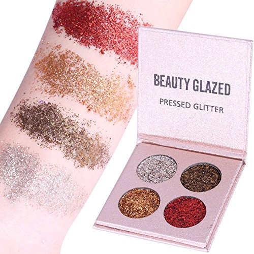 Beauty Glazed Eyeshadow Palette Insanely Pigments 4 Glitter Make Up Palettes Long Lasting Waterproof 4 Colors (Rose Gold)