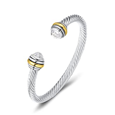 92775bcd89cf4c Amazon.com: UNY Bracelet Designer Brand Inspired Antique Women Jewelry CZ Cable  Wire Bangle Christmas day Gifts (Clear): Jewelry