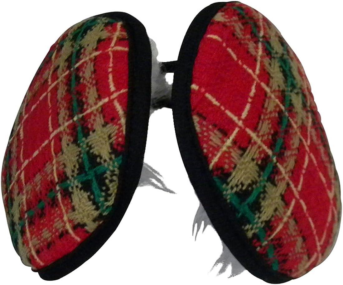 Woven Plaid Earmuffs with Fleece Inside