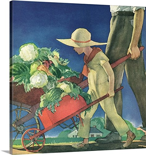 Will Hollingsworth Canvas Wall Art Girl Helps Dad Garden 36