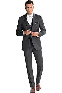 Kelaixiang Mens 3-Piece Suit One Button Slim Fit Coat Pants Vest