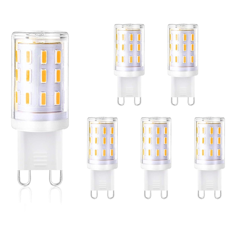 Creyer G9 LED Lampen Kein Flackern/350 lumens/33 X 4014 LED SMD/4W ersetzt 40W Halogenlampen/Warmweiß 2900K/G9 LED Leuchtmittel Birne/AC 220-240V/Nicht Dimmbar/5er Pack