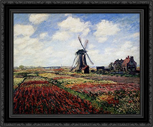 (Tulip Fields With The Rijnsburg Windmill 23x20 Black Ornate Wood Framed Canvas Art by Monet, Claude)