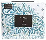 Nicole Miller Duvet Cover Set Juliet Aquamarine Damask Medallion Turquoise Blue 100% Cotton 300TC (Queen)
