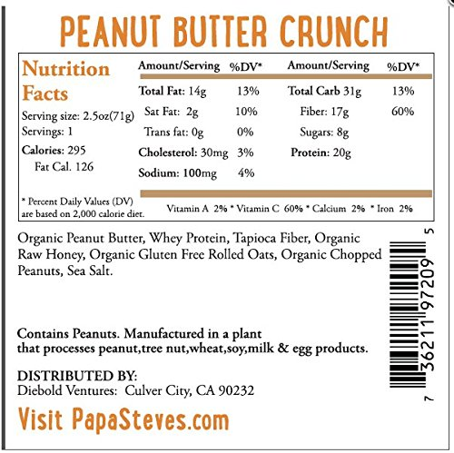 Papa Steve's No Junk Raw Protein Bars, Peanut Butter Honey Crunch, 2.3 Oz, 10 Count by Papa Steve's Raw Foods