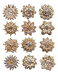 Zakia 12pc Wholesale Lot Crystal Flower Bridal Brooch Pin Brooches