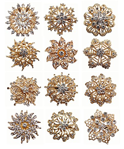 - ZAKIA Wholesale Lot 12pcs Crystal Flower Bridal Brooch Pin Brooches Gold Silver (E Set Gold (Big))
