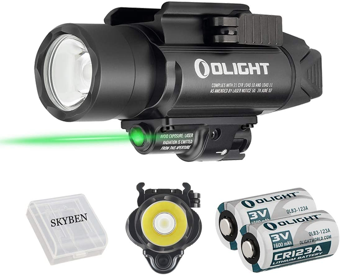 Olight Baldr Pro 1350 Lumens Tactical Flashlight,with Green Light and White LED,Compatible with 1913 or GL Rail, Powered by 2 CR123A Batteries,with SKYBEN Battery Box Black