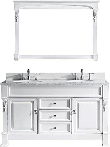 Virtu USA GD-4060-WMRO-WH-001 Huntshire 60 Double Bathroom Vanity in White with Marble Top and Round Sink with Brushed Nickel Faucet and Mirror, 60 inches