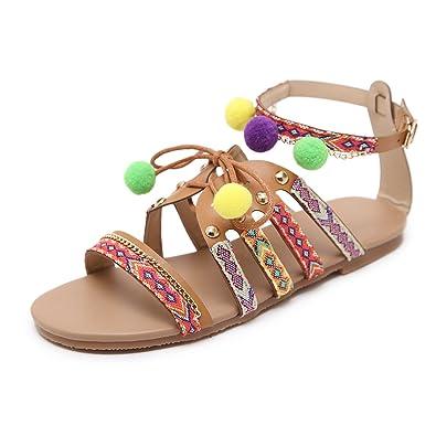 gracosy Damen Sandalen, Leder Bohemia Sandalen Strandschuhe Flip Flops Flach Sommerschuhe Strand Schuhe Clip Toe Zehentrenner