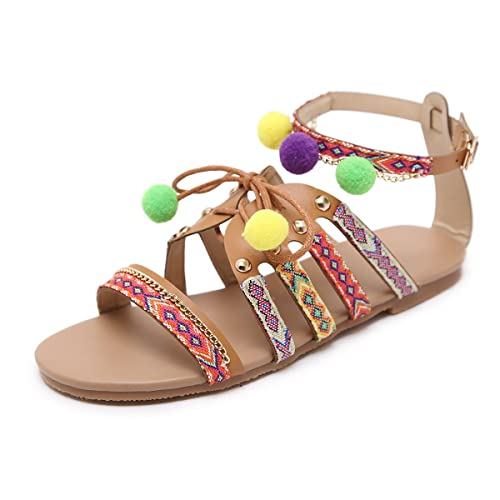 222a261ec3beb gracosy Women Bohemia Sandals Gladiator Leather Sandals Flats Shoes Pom-Pom  Sandals Summer Beach Shoes