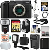 Panasonic Lumix DMC-GX8 4K Wi-Fi Digital Camera Body (Black) with 64GB Card + Battery & Charger + Backpack + Strap + Flash + LED Light + Tripod + Kit