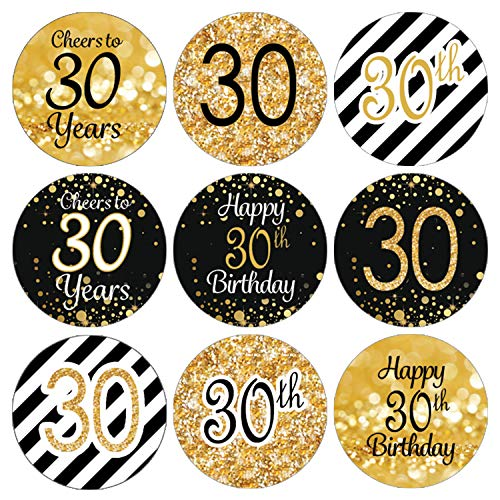Black and Gold 30th Birthday Party Favor Labels | 216 Stickers