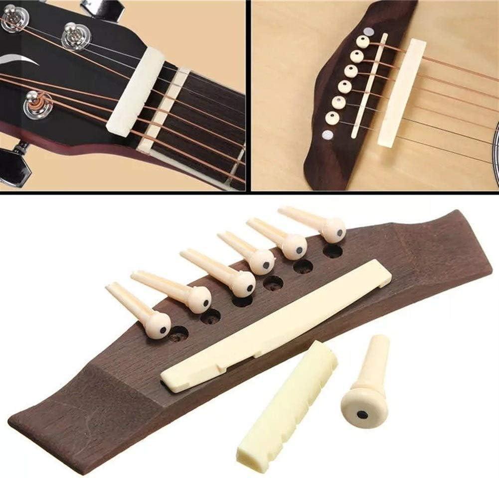 Rtyrytiiu Accesorios para Instrumentos Musicales 1 Kit del Sistema de Puente de la Guitarra Guitarra acústica con el Hueso de una Silla Pernos Tuerca Partes de Guitarra