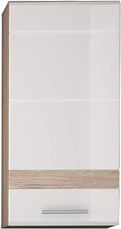 Maisonnerie 1336-501-96 Placard Murale de Salle de Bain Blanc  Ultrabrillant, Chêne de San Remo Claire LxHxP 37x77x24 cm