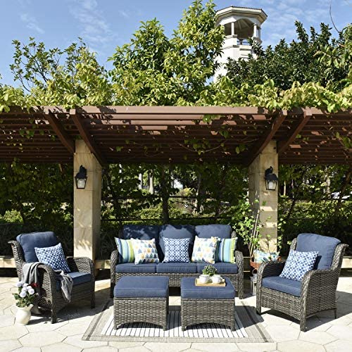 XIZZI Patio Furniture Sets Clearance,Outdoor Furniture,All Weather Wicker Patio Set 5pc