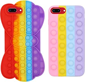 2 Pcs FidgetToys Phone Case, The Toys Phone Case can Relieve Anxiety and Autism, and The Colorful Silicone Phone Case can Protection of iPhone Mobile Phone (2pcs, iPhone 8 Plus)