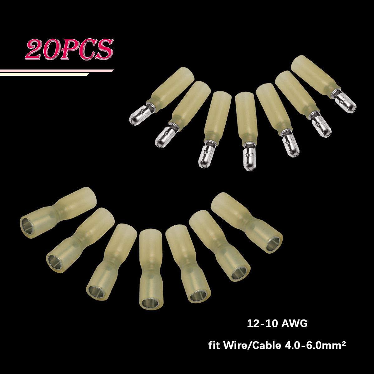 FidgetFidget Male Female Bullet Heat Shrink Wire Connectors Crimp Terminals 20pcs 12-10 Gauge