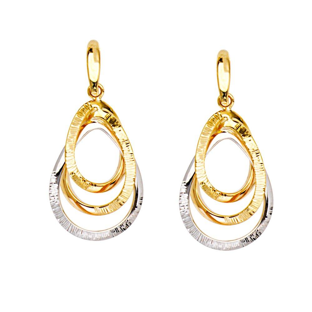 LOVE KNOT EARRINGS, 14KT GOLD 3D TRIPLE TEARDROP DIAMOND CUT/SHINY FH EAR