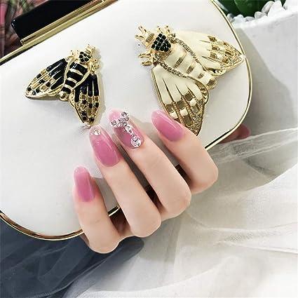 Parche de uñas postizas de color rosa con acabado de diamante ...