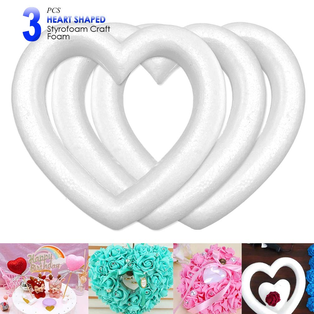 3-Pack Polystyrene Foam Wreath DIY Supplies for Craft Projects and Wedding Decorations White Open Heart Shaped 9.8x9.8x1.77 Inches ACTENLY Heart Shaped Foam Wreath Extruded Heart Foam Wreath