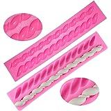Stampi per fondotinta in silicone con torsione, forma a forma di frittella, FineGood Confezione da 2 pezzi di pasta per zucchero Utensili da cucina decorazione per torta - Rosa