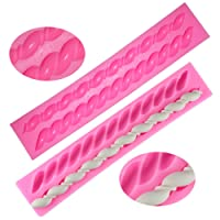 Silicone Fondant Twist Rope Molds, Fritter-Shaped, FineGood 2 Pack Sugar Paste Kitchen Tools Cake Decorating - Pink
