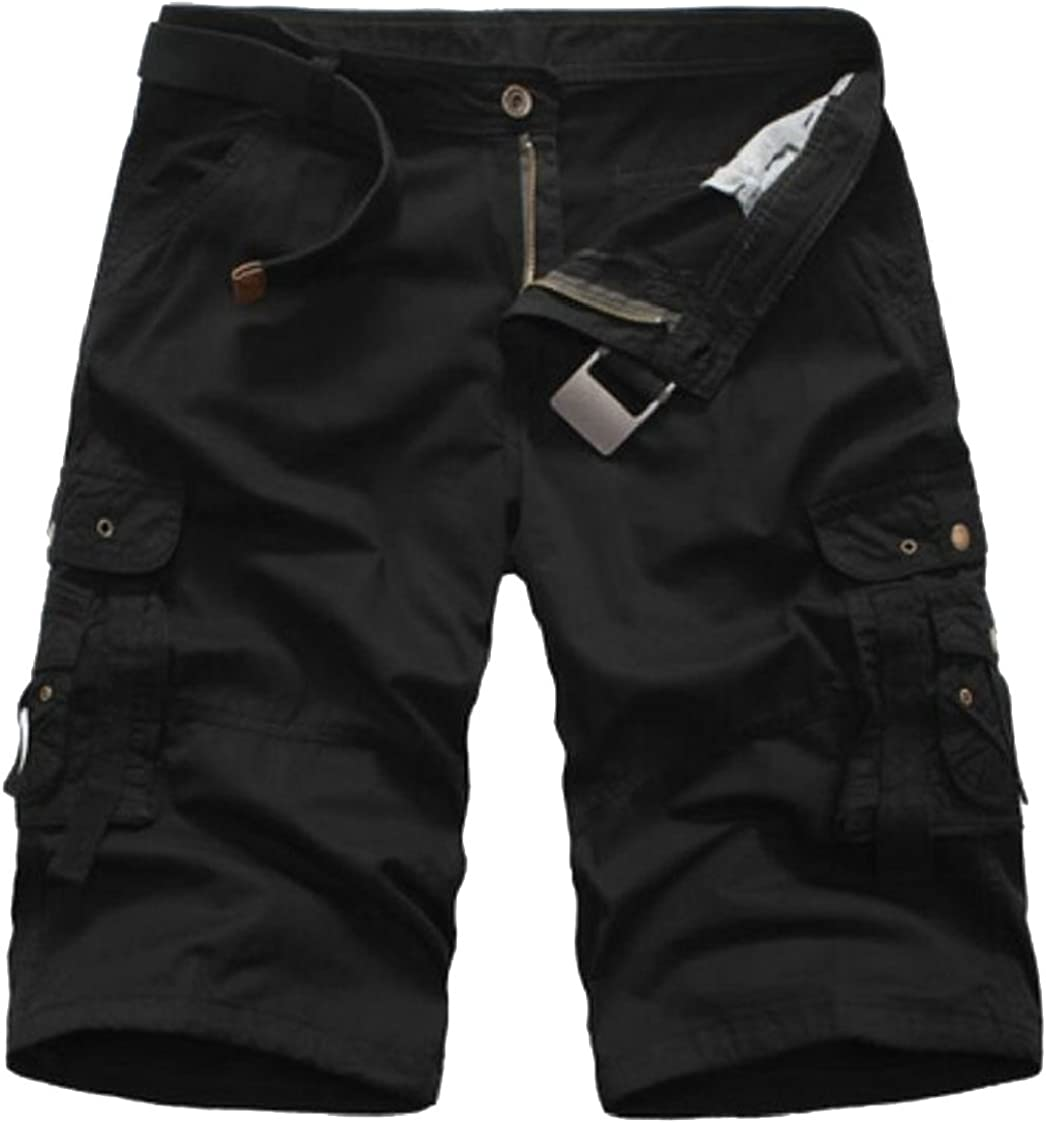 lovever Men Cargo Shorts,New Outdoor Solid Color Slim Fit Cotton Cargo Shorts Pants
