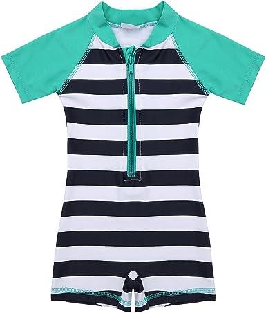 FEESHOW Baby Boys Girls One Piece Striped Rash Guard Swimsuit Shirt Bathing Suit Sun Protection Swimwear