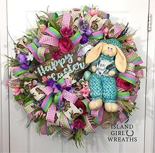 Amazon Com Easter Wreath Easter Wreaths Easter Wreath For Front Door Easter Deco Mesh Wreath Deco Mesh Easter Wreath Handmade