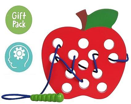 Amazon Com Usatdd Wooden Lacing Big Apple Toy Threading Montessori