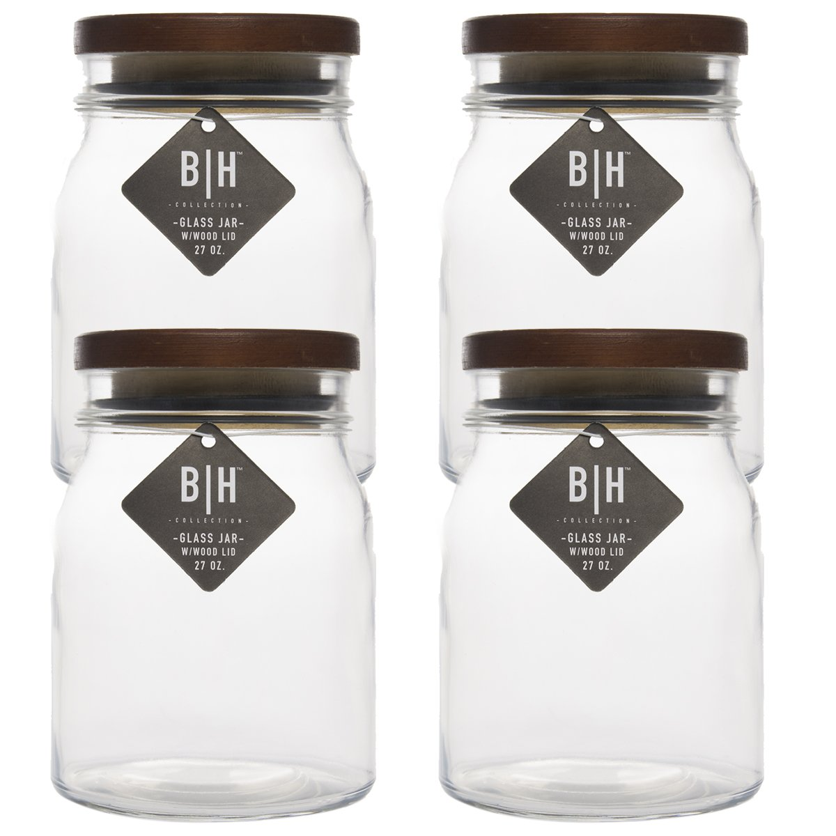 Blue Harbor (4 Pack) 27oz Clear Glass Storage Jars With Wood Lids Decorative Kitchen or Craft Jar Set
