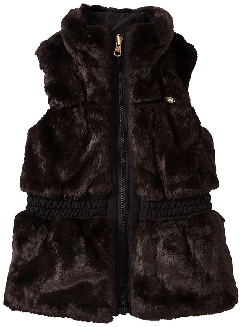 E-Land Kids Little Girls' Fur Vest (Toddler/Kid) - Brown 1225021
