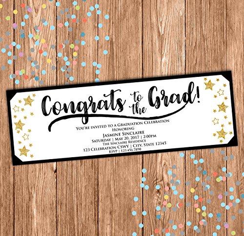 Bash Tickets (Graduation Ticket Invitation - Black White Gold Stars Invite- Congrats to the Grad - Class of 2017 - 2x6)