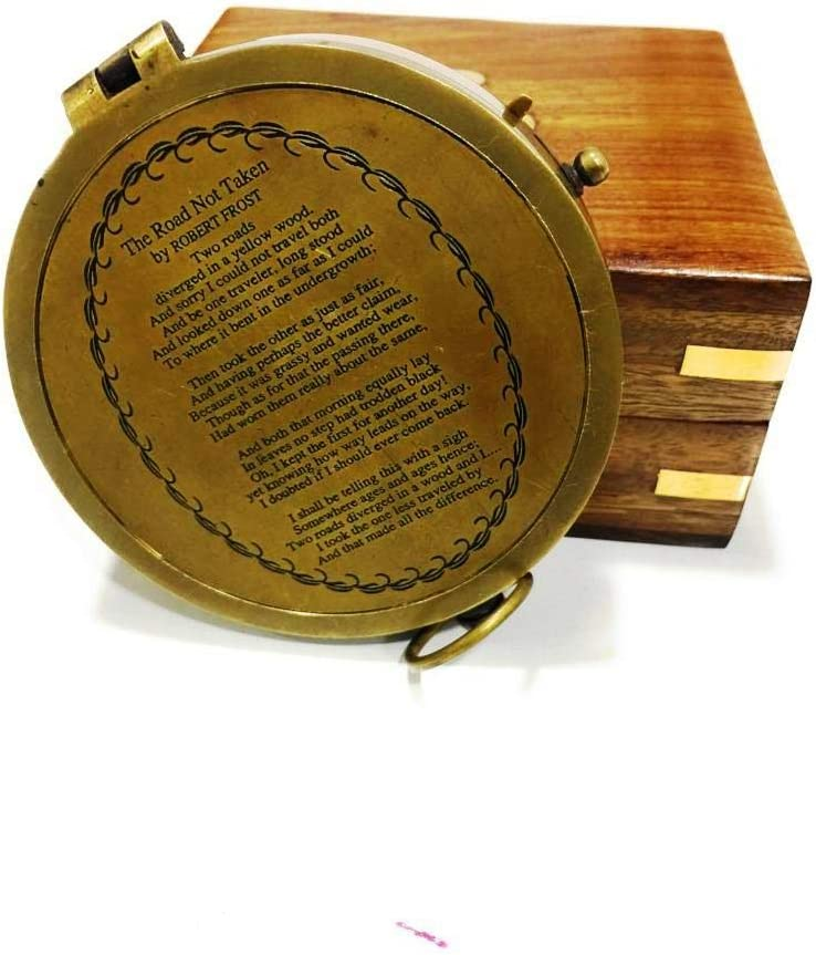 NauticalMart Brass Compass with Rosewood Case Engraved Poem Compass Handmade Baptism Gifts Graduation Gift Fathers Day Best Easter Wedding Gifts Mothers Day Birthday