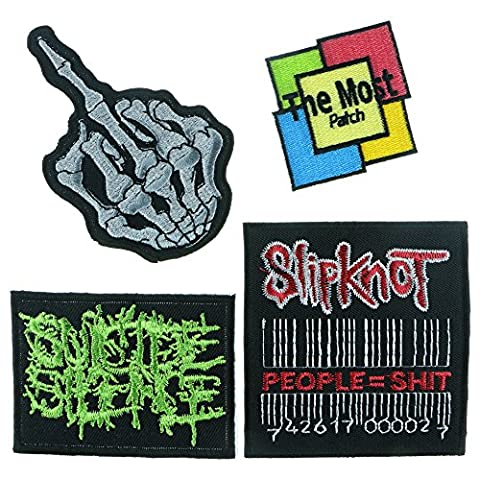 Embroidered Iron Sew on Patch Finger Skull and Music Rock Band (A013) (Slipknot Jacket Women)