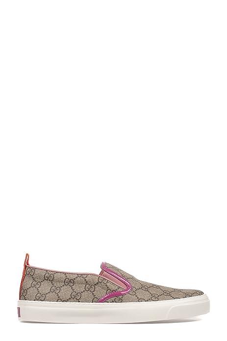 Gucci Mujer 408511Klqo09862 Beige Cuero Zapatillas Slip-On: Amazon.es: Zapatos y complementos