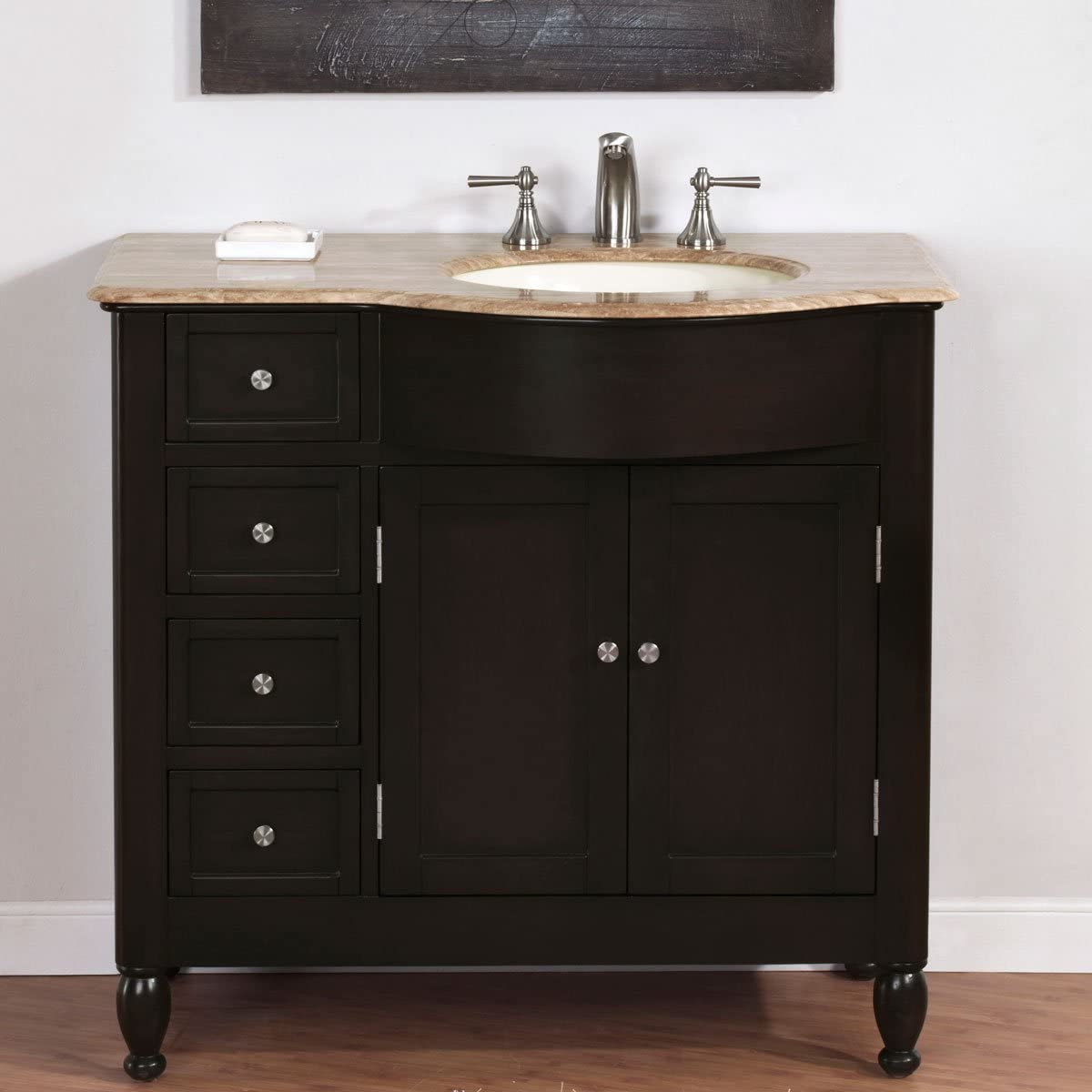 Silkroad Exclusive HYP-0902-T-UIC-38-R Single Right Sink Bathroom Vanity with Bath Furniture Cabinet, 38 , Dark Wood