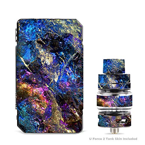 (IT'S A SKIN Decal Vinyl Wrap for VooPoo Drag Mini & UForce T2 Tank Vape Sticker Sleeve/Chalcopyrite Colorful Purple Glass Rock Crystal)