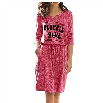 Vestidos Damas SUNNSEAN Faldas a la Rodilla Vestido de Cuello ...