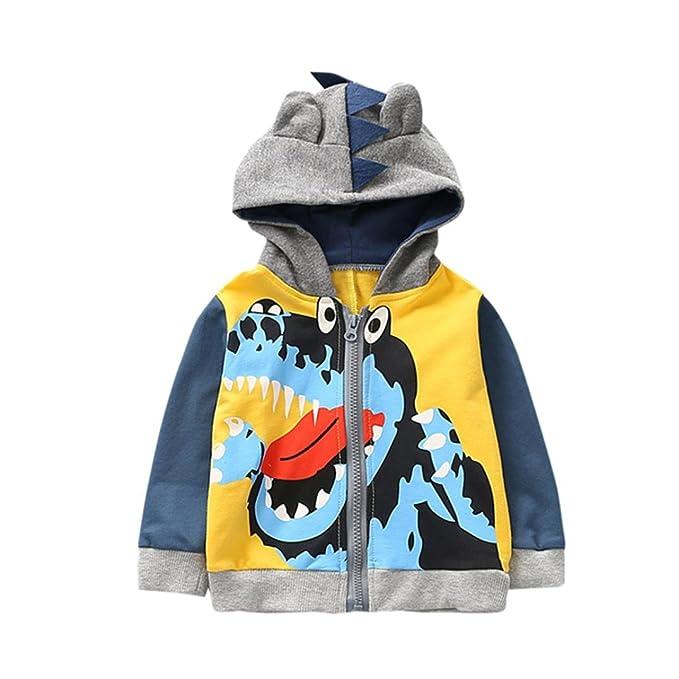Abrigo para bebé con capucha, Yannerr niños chico pequeño otoño invierno dibujos animados animal encapuchado