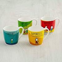 Home Centre Happiness Print Mini Mug Set - Set of 4 Pcs - Multicolour