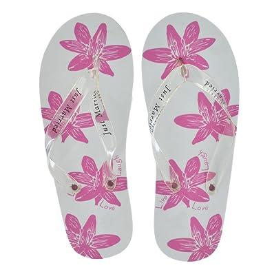e7a7ce58b Brides Companion Ladies White   Pink Flower Just Married Honeymoon Imprint Flip  Flops (Large UK