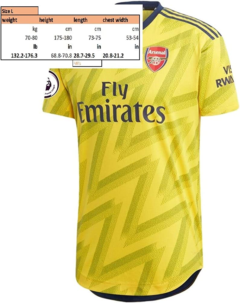 AUBAMEYANG 14 Arsenal Away 2019 2020 Soccer Jersey Color Yellow Size L