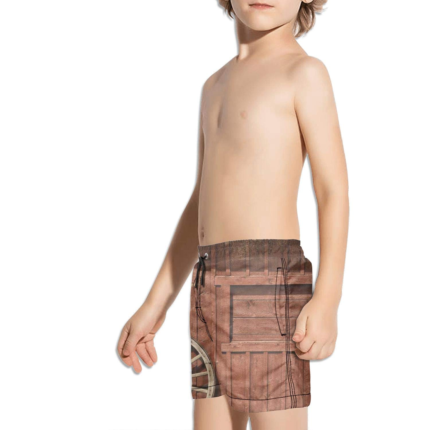 etstk Rustic Wooden barn Farmhouse Rural Kids Quick Dry Swim Trunks for Men