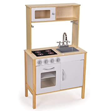 Froggy Kinderküche aus Holz Spielküche mit Schränken, Mikrowelle Spülbecken  mit Wasserhahn und Ofen Natur Weiss